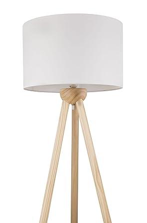 Stehleuchte mit Stoff-Schirm in Weiß Stehlampe Standlampe Holz ...