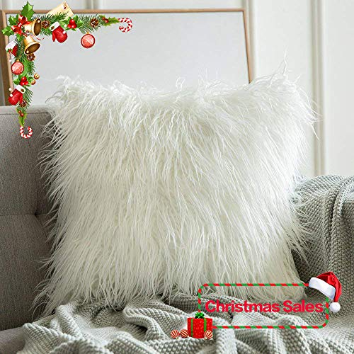 MIULEE Decorative New Luxury Series Style Christmas White Faux Fur Throw Pillow Case Cushion Cover for Sofa Bedroom Car 18 x 18 Inch 45 x 45 cm (White Cushions Pink And)