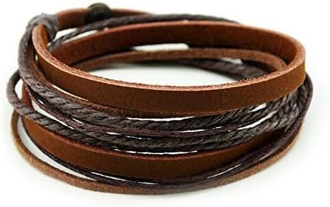 Furuida Genuine Leather Cuff Wrap Bracelet
