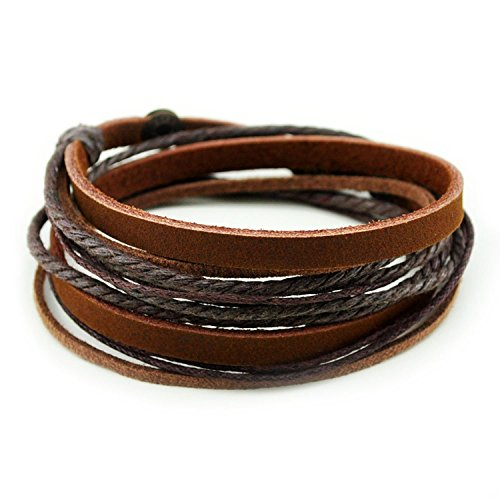FRD.2Y Furuida Genuine Leather Cuff Wrap Bracelet,Unisex Multilayer Leather Braided Adjustable Bracelets for Women & Men Brown ()
