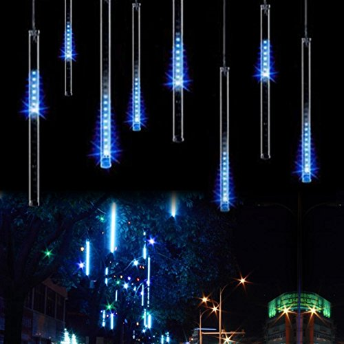 LED Falling Rain Lights with 30cm 8 Tube 144 LEDs,Upgraded Meteor Shower Light,Drop/Icicle Snow Raindrop Cascading String Lights for Wedding Christmas Decoration(Blue) (Blue Christmas Lights Icicle)