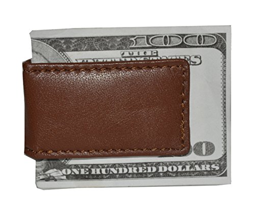 Men's New Leather Strong Magnetic Money Clip (Brown) ()