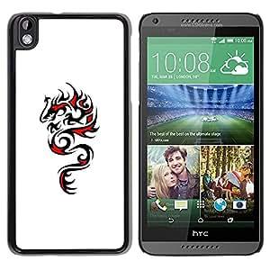 Paccase / SLIM PC / Aliminium Casa Carcasa Funda Case Cover - Dragon Art Black Red Drawing - HTC DESIRE 816