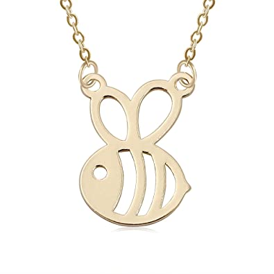 52d404b6a0bbe8 Amazon.com: Beichuang Cute Tiny Honey Bee Pendant Necklace for Kids (Gold):  Jewelry