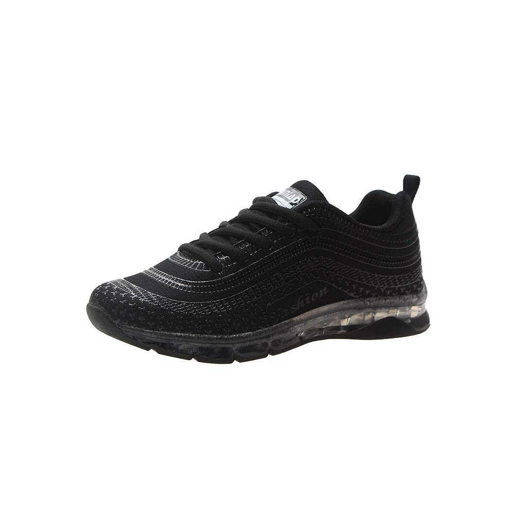 refulgence Running Sneakers, Fashion Women Flying Woven Running Mesh Lace-Up Casual Breathable Sports Shoes(Black,US=5.5)
