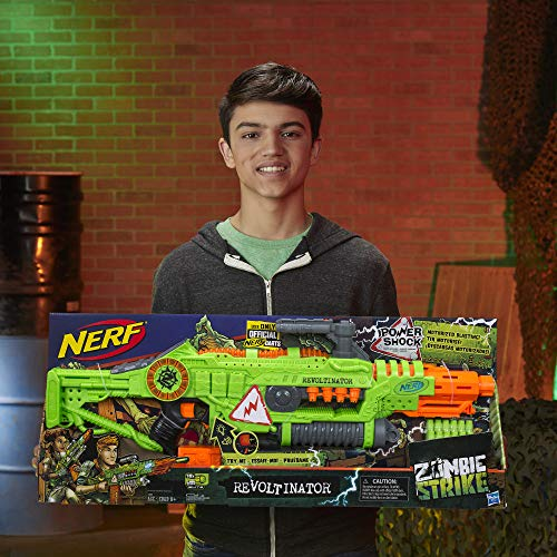 51NbThgBUAL - NERF Revoltinator Zombie Strike Toy Blaster with Motorized Lights Sounds & 18 Official Darts for Kids, Teens, & Adults
