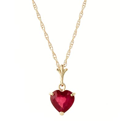 c46d844ee4c6a Galaxy Gold 1.45 Carat 14k Solid Gold Necklace with Natural Heart-Shaped  Ruby