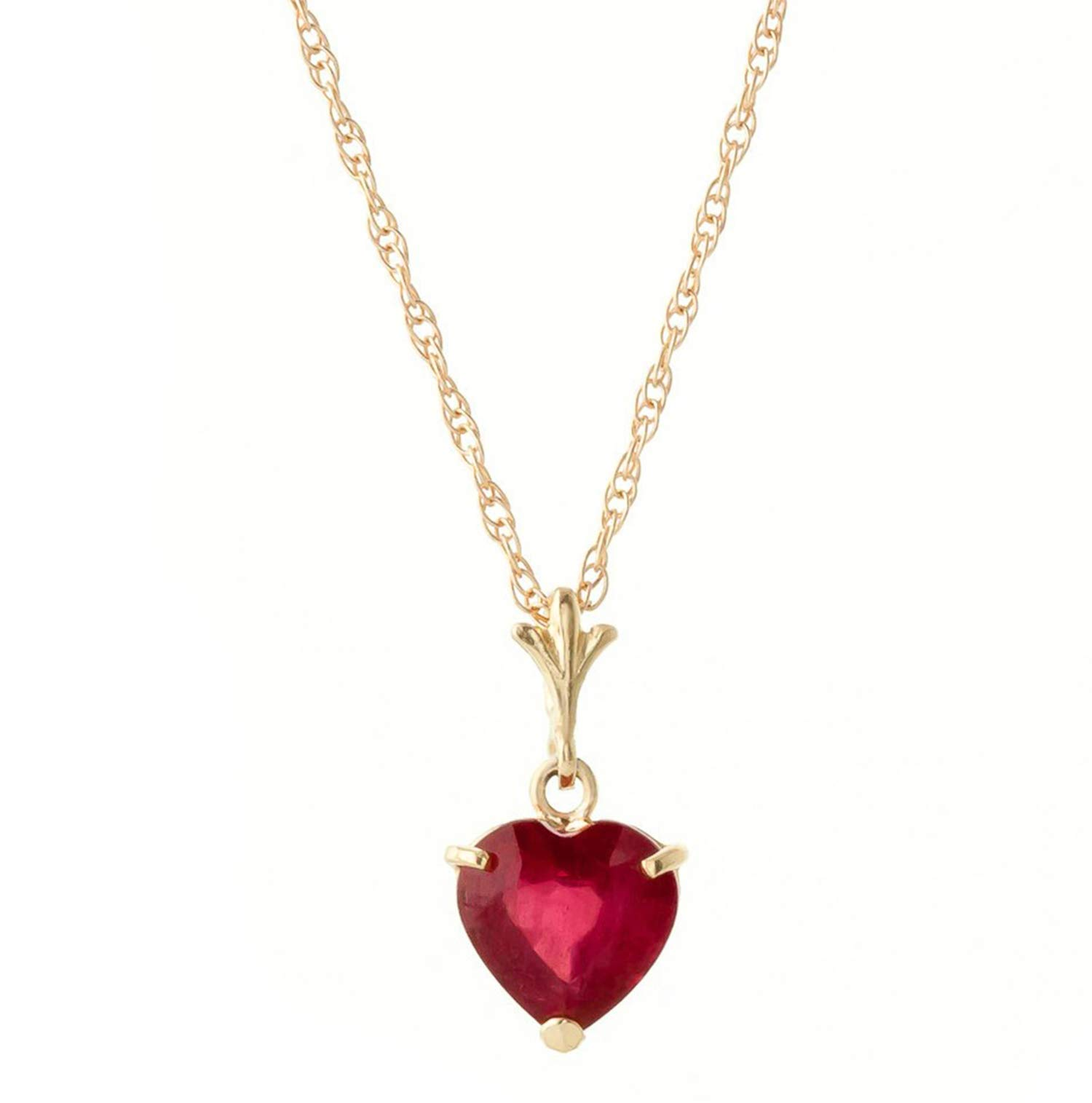 Galaxy Gold 1.45 Carat High Polished 14k 16'' Solid Yellow Gold Pendant Necklace with Heart Shape Natural Ruby - Heat Treated