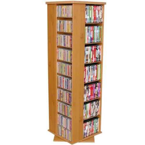 800 Revolving Multi Media Rack (Oak/Black) (50'' x 19 1/4'' x 19 1/4'') by Venture Horizon