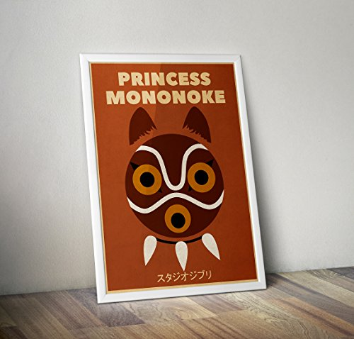 Anime minimalist vintage Poster, Princess Mononoke minimalist prints, studio ghibli kids room decor, Mononoke mask poster, All Prints avialable in 9 SIZES and 3 type of MATERIALS