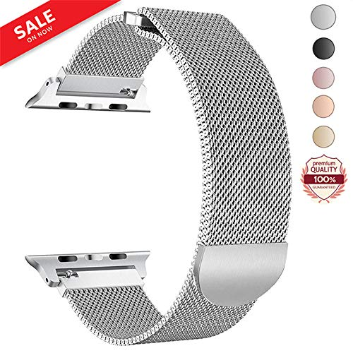 LWCUS Compatible Replacement for Apple Watch Band 38(40) 42(44)MM, Milanese Mesh Loop Stainless Steel Compatible iWatch Band with Magnetic Closure for Apple Watch Series 4 3 2 1[38(40)-Silver]
