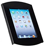 iPad Bracket for Wall Mount, Hidden ''Home'' Button, Includes Card Reader Bracket for Commercial Use, Rotating (Black Steel)