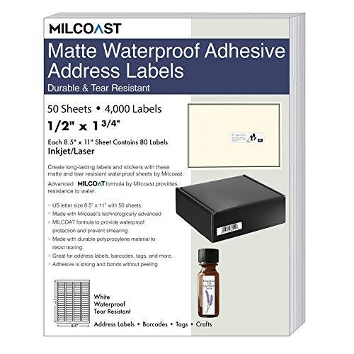 (Milcoast Matte Waterproof Tear Resistant White Blank Adhesive 1/2
