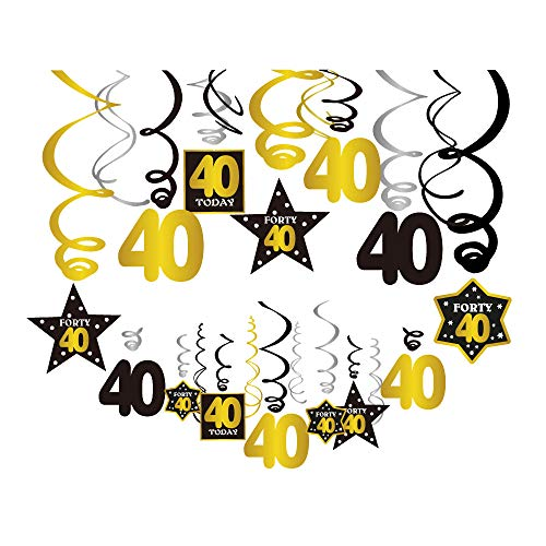 CC HOME 40th Birthday Party Decorations Kit - Cheers to 40 Years Hanging Swirl Decorations, 30Pcs Dizzy Dangler 40 Ceiling Hanging Streamers Decorations, Perfect 40th Anniversary Decorations 40 Years Old Party Supplies