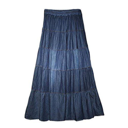 Tengfu Womens Elegant Casual A-line Ankle Length Long Denim Prairie Skirts, Blue, One Size (tag  no size, it is a free size) - Denim Lightweight Skirt