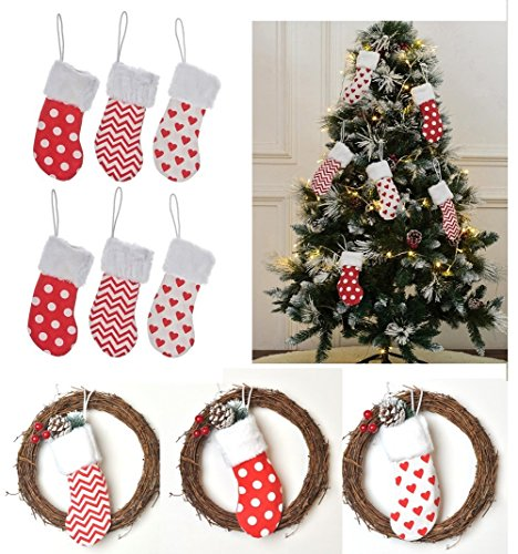 6 Burlap Christmas Stockings Decoration - 6 Pcs Set Print & Faux Fur Fireplace Tree Decor Small (each style 2 pcs) for $<!--$6.99-->