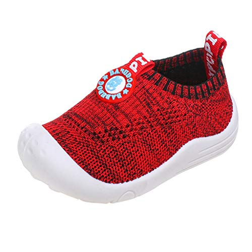 (ONLY TOP Baby Boys Girls Sneakers Anti Slip Lightweight Soft Toddler First Walkers for Walking Running Red)