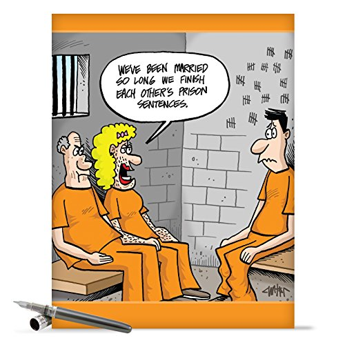 J9666 Jumbo Funny Anniversary Card: Prison Sentences With Envelope (Extra Large Version: 8.5'' x 11'')