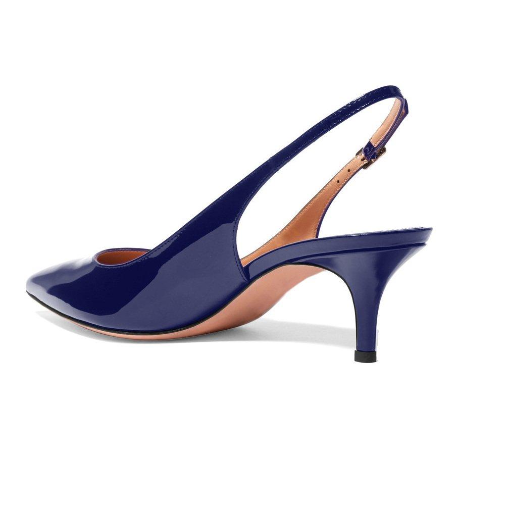 EKS Frauen Spitzschuh Mid Heels Slingback Patent Kleid Party Pumps Schuhe Blau 39 EU jlYShcxJ