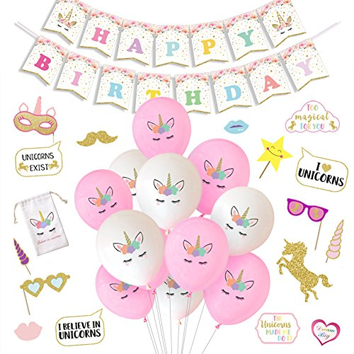 Unicorn Party Decorations Unicorn Balloons Happy Birthday Banner Photo Booth Props for Girls Birthday Party Supplies (Horns Party Printed)
