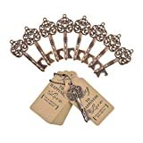 DerBlue 60 PCS Key Bottle Openers,Vintage Skeleton Key Bottle Opener, Wedding Favors Key Bottle Opener Rustic Decoration with Escort Tag Card Thank You (Copper-5)