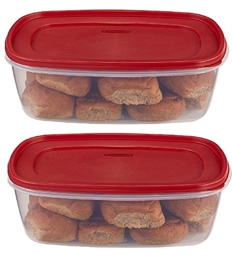 Rubbermaid 7J77 071691405382 food 2 pack clear with red ()