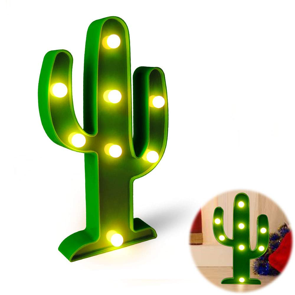 Flecom Cactus Light, Cactus Lamp Night Table Lamp Light for Living Room, Home Decoration, Kids Room Bedroom, Party, Green