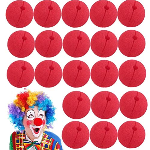 WarmShine 24 Pieces Funny Red Nose Foam Circus Clown Nose Magic Dress Party Supplies Cosplay Costume Accessories -
