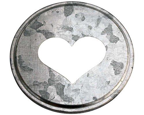 - Heart Cutout Galvanized Metal Lid Inserts for Mason Jars (10 Pack, Wide Mouth)