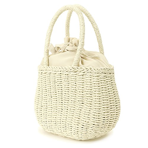 ililily Paper Yarn Weave Mini Casual Small Lightweight Summer Handbag Ivory