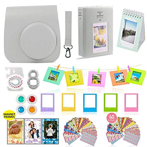 Fujifilm Instax Mini 9 Camera Accessories Bundle, Fuji 14 PC Smokey White Kit Includes: Instax Case + Strap, 2 Albums, Filter, Selfie Lens, Magnets + Hanging + Creative Frames, 60 Stickers, Gift Set