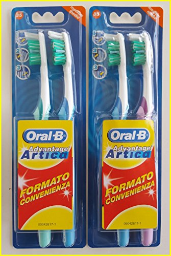 Oral-B Advantage Artica 35 Medium Manual, 2 Packs of 2 Toothbrushes