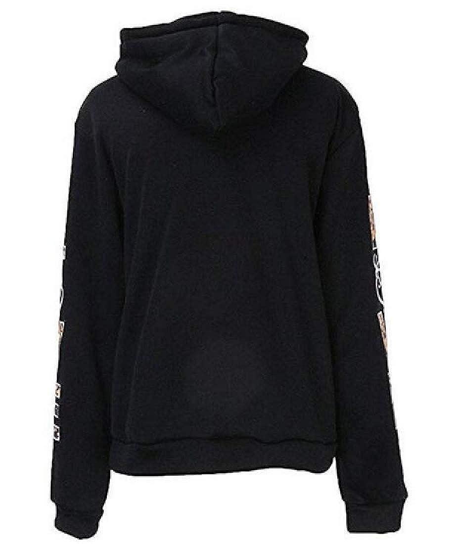Cromoncent Women Long Sleeve Love Print Pocket Hoodie Pullover Sweatshirt