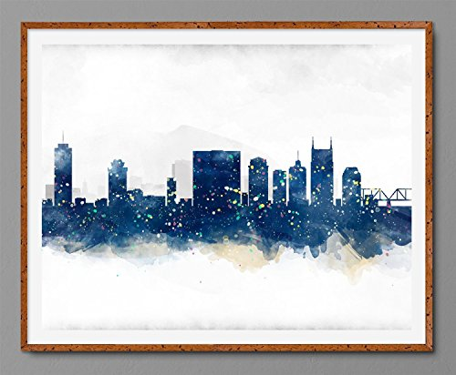 Nashville Cityscape – Skyline Watercolor Art Print Poster – Navy Blue, Yellow, Green…