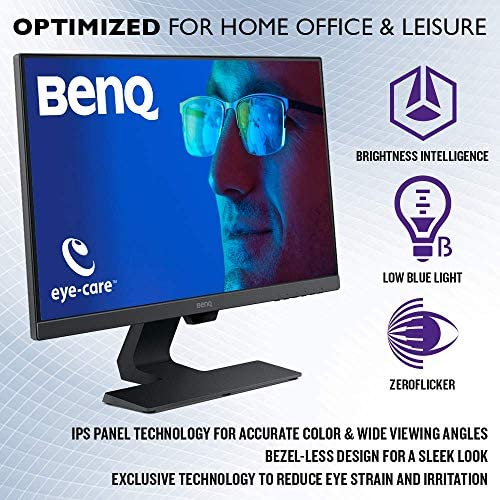 BenQ 24 Inch IPS Monitor | 1080P | Proprietary Eye-Care Tech | Ultra-Slim Bezel | Adaptive Brightness for Image Quality | Speakers | GW2480 51NbWwLRBYL