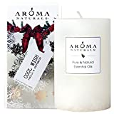 Aroma Naturals Holiday Essential Oil Scented Pillar Candle, Vanilla & Peppermint, Cool Wish