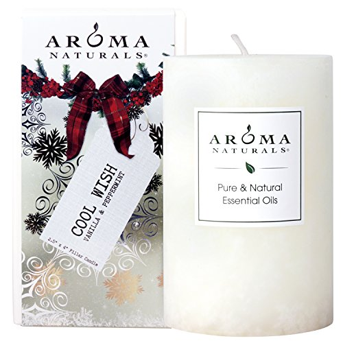 (Aroma Naturals Holiday Essential Oil Scented Pillar Candle, Vanilla & Peppermint, Cool Wish, 2.5 inch x 4 inch)