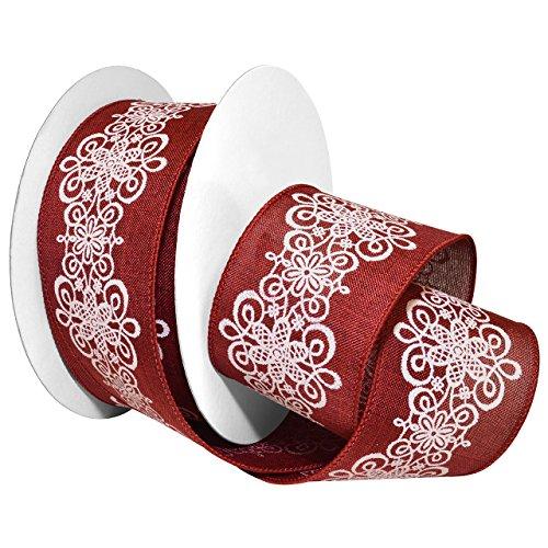 Morex Ribbon Wired Polyester Lascala Lace Ribbon, 2-1/2