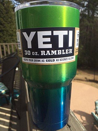 Yeti Rambler 30 Oz, Stainless Steel, Powder-coated, Custom Colors (Caribbean Blue/Candy Green Apple)
