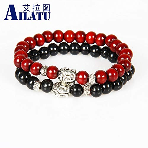 - Oseni Ailatu Wholesale Promotion 12 pieces/lot Wood Bracelet, Prayer Mala Beads Natural Wood Buddha Head Beads Fashion Jewelry