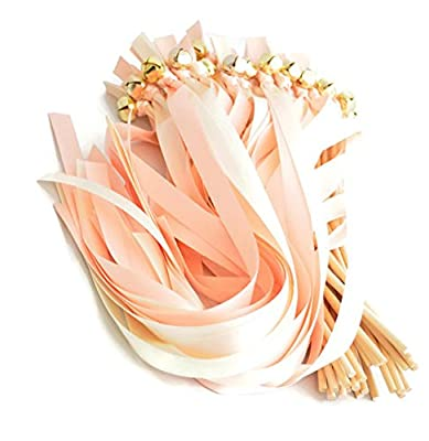 25 Rose Petal ( Petal) & Antique White (True Ivory) Wedding Ribbon Gold Bell Wands ~ Wedding Favors ~ Wedding Ceremony ~ Wedding Ribbon Bell Wands ~ Divinity Braid ~ Send Off Bells