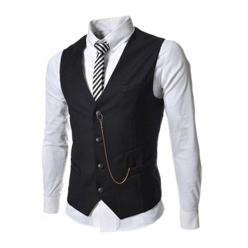 Uomo Elegante Senza Maniche Sottile Fit Matrimonio Panciotto Business Suit Waistcoat Metallo Decorazione Commerciale Gilet M 2XL 5 Colore