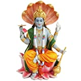 PTC 8 Inch Vishnu with Lotus Mythological Indian Hindu God Statue Figurine