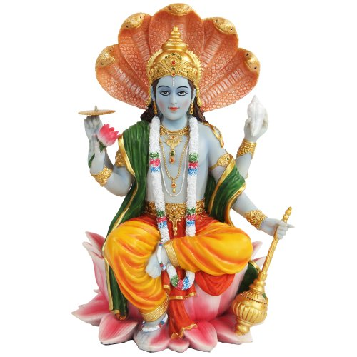 PTC 8 Inch Vishnu with Lotus Mythological Indian Hindu for sale  Delivered anywhere in USA