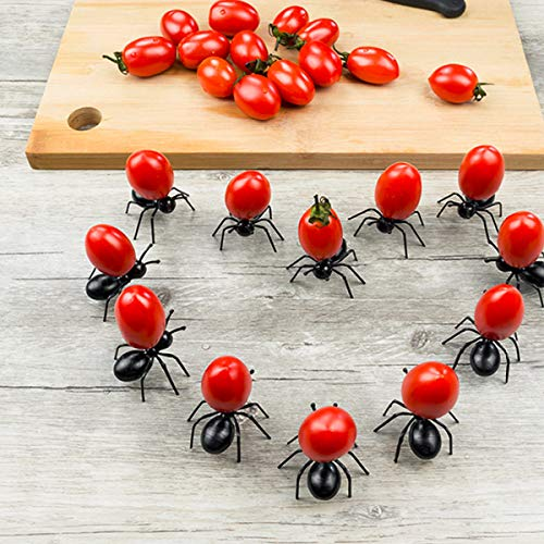 24pcs Fruit Toothpick Dessert Forks, Creative Adorable Mini Black Plastic Ant Food Forks Cute Home Decoration Party Picks Home Kitchen Accessories]()