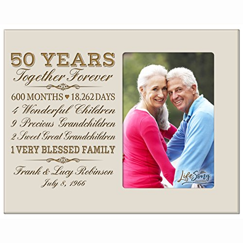 LifeSong Milestones Personalized fifty year anniversary gift for her him couple Custom Engraved wedding gift for husband wife girlfriend boyfriend photo frame holds 4x6 photo (Ivory)