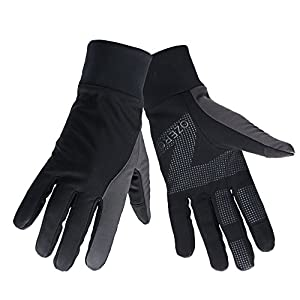 OZERO Touch Gloves for Women, Winter Warm Biking Glove for Smart Phone Texting with Non-slip Silicone Gel - Thermal Cotton - Windproof and Waterproof for Running, Cycling, Driving - Black (Medium)