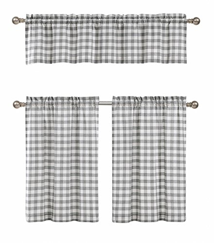 3 Pc. Plaid Country Chic Cotton Blend Kitchen Curtain Tier & Valance Set - Assorted Colors (Tiers Plaid Valance)