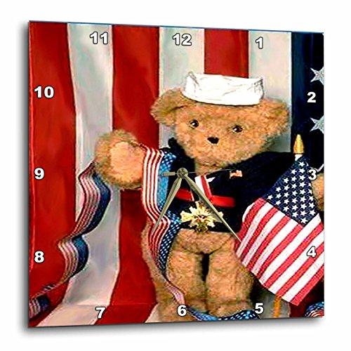 Teddy Bear Wall Clock - 3dRose LLC American Teddy Bear 10 by 10-Inch Wall Clock