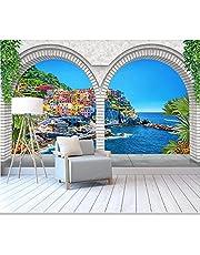 Behang Romeinse Kolom Bogen Waterval Bos Stroom Strand Natuurlijke Landschap 3D Behang Woonkamer Slaapkamer Muurschildering Decor
